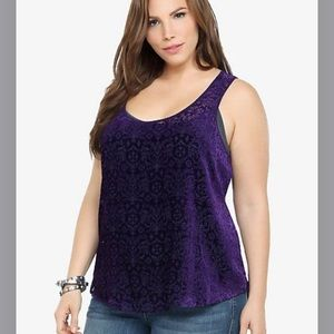 Torrid damask burnout velvet tank top